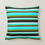 [ Thumbnail: Green, Aqua, Light Cyan, and Black Stripes Pillow ]