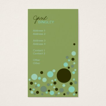 Professional Business Green & Aqua Retro Dots Business Card