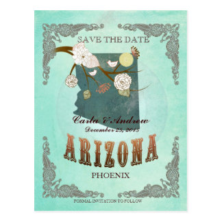 Green Aqua Save The Date -AZ Map With Lovely Birds Postcard