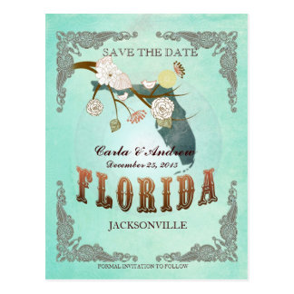 Green Aqua Save The Date -FL Map With Lovely Birds Postcard