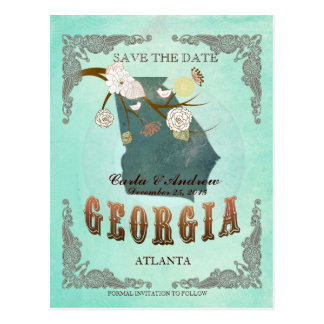 Green Aqua Save The Date -GA Map With Lovely Birds Postcard