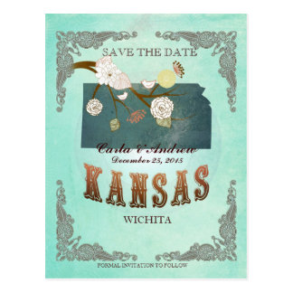 Green Aqua Save The Date -KS Map With Lovely Birds Postcard
