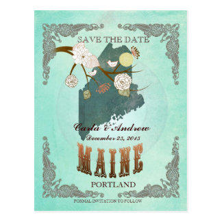 Green Aqua Save The Date -ME Map With Lovely Birds Postcard