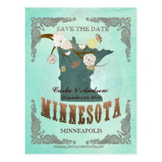 Green Aqua Save The Date -MN Map With Lovely Birds Postcard