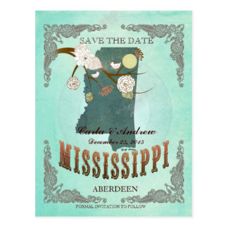 Green Aqua Save The Date -MS Map With Lovely Birds Postcard