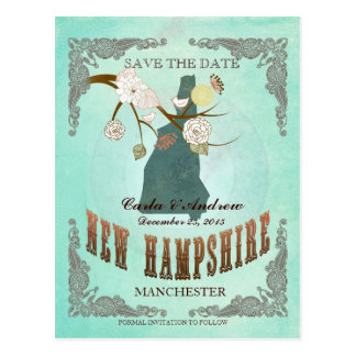 Green Aqua Save The Date -NH Map With Lovely Bird Postcard