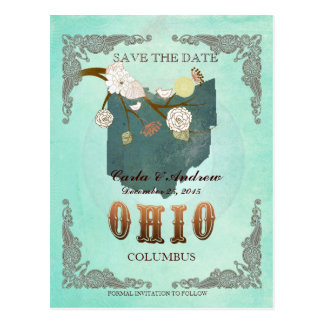 Green Aqua Save The Date -OH Map With Lovely Birds Postcard