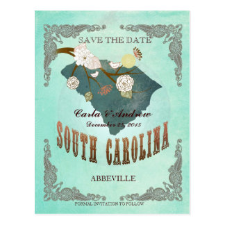 Green Aqua Save The Date -SC Map With Lovely Bird Postcard
