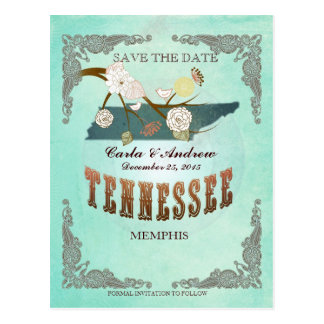 Green Aqua Save The Date -TN Map With Lovely Birds Post Card