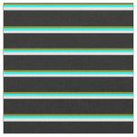 [ Thumbnail: Green, Aqua, White & Black Striped/Lined Pattern Fabric ]
