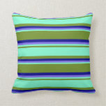 [ Thumbnail: Green, Aquamarine, Medium Slate Blue & Dark Blue Throw Pillow ]