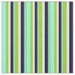 [ Thumbnail: Green, Aquamarine, Midnight Blue, Black, and White Fabric ]