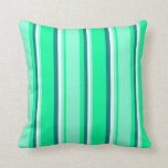 [ Thumbnail: Green, Aquamarine, Mint Cream & Teal Lines Pillow ]