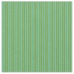 [ Thumbnail: Green & Aquamarine Pattern of Stripes Fabric ]