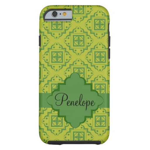 Green Arabesque Moroccan Graphic Name Personalized iPhone 6 Case