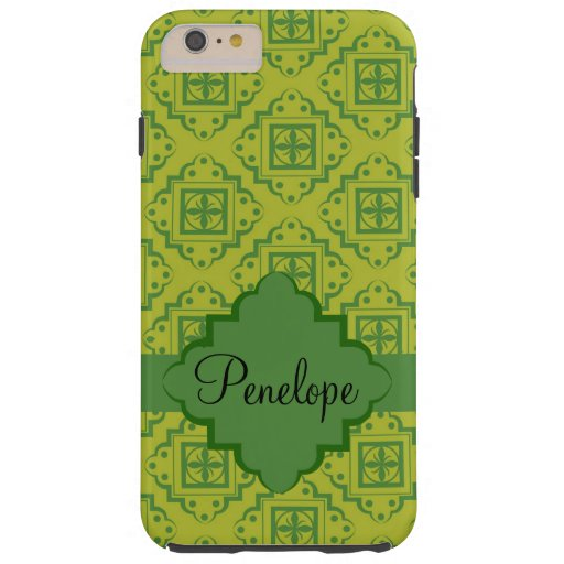 Green Arabesque Moroccan Graphic Name Personalized Tough iPhone 6 Plus Case