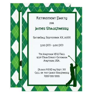 Green Argyle and Golf Party Card
