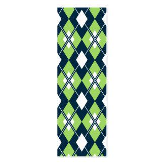 Green Argyle Bookmark Mini Business Card