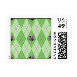 Green Argyle Ladybug Postage