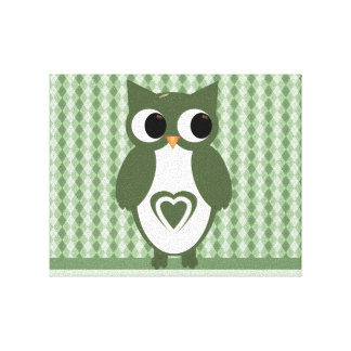 Green Argyle Love Owl Gallery Wrap Canvas
