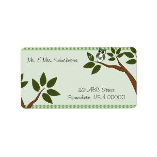 Green Argyle Love Owl Address Label