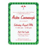 "Green Argyle Mini Golf Kids Birthday Invitations 4.5"" X 6.25"" Invitation Card"