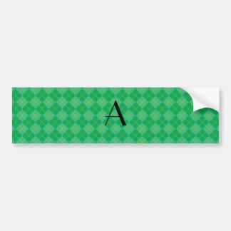 Green argyle monogram car bumper sticker