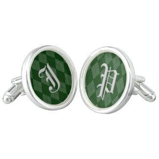 Green Argyle Monogram Inital Personalized Letter Cufflinks