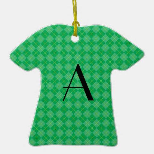 Green argyle monogram Double-Sided T-Shirt ceramic christmas ornament