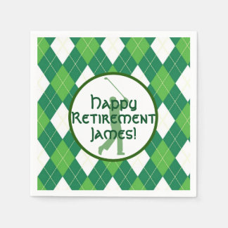 Green Argyle Pattern and Golf Party Paper Napkin