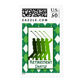 Green Argyle Pattern and Golf Party Postage