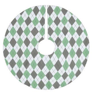 Green Argyle Pattern Brushed Polyester Tree Skirt