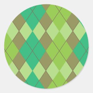 Green argyle pattern classic round sticker