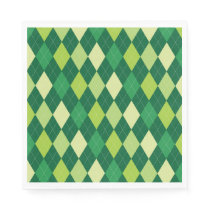 Green argyle pattern napkin