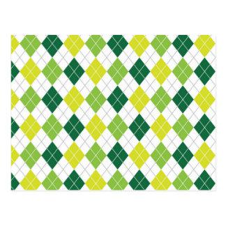Green Argyle Pattern Postcard