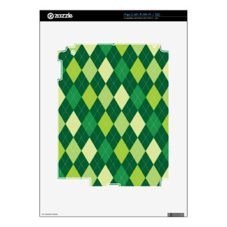 Green argyle pattern skins for iPad 2
