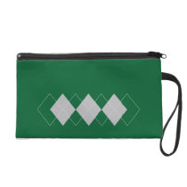 green argyle pattern wristlet purse