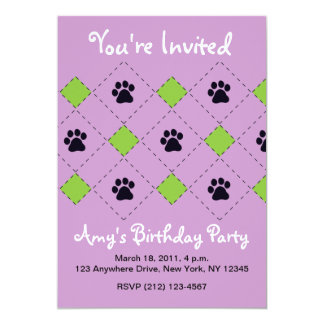 Green Argyle Paw Prints Card