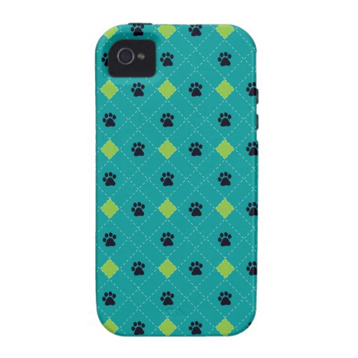 Green Argyle Paw Prints Case-Mate iPhone 4 Cases