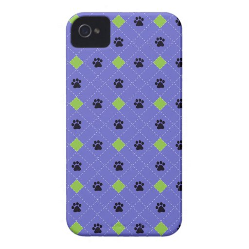 Green Argyle Paw Prints iPhone 4 Cases