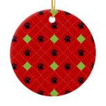Green Argyle Paw Prints Ceramic Ornament