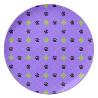 Green Argyle Paw Prints Dinner Plate