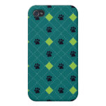 Green Argyle Paw Prints iPhone 4/4S Cover