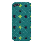 Green Argyle Paw Prints Case For iPhone SE/5/5s