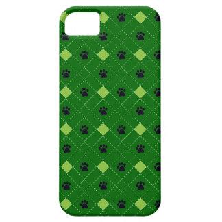 Green Argyle Paw Prints iPhone SE/5/5s Case