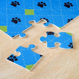 Green Argyle Paw Prints Jigsaw Puzzle