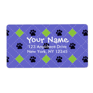 Green Argyle Paw Prints Label