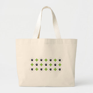 Green Argyle Paw Prints Large Tote Bag