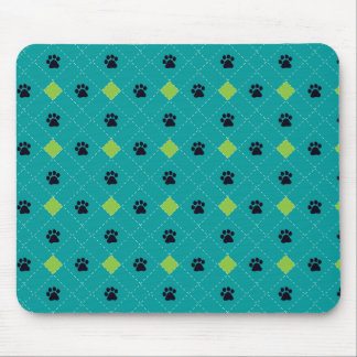 Green Argyle Paw Prints Mouse Pad