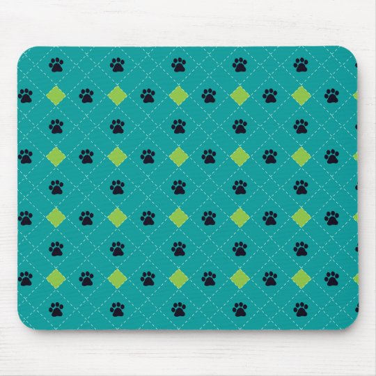 Green Argyle Paw Prints Mouse Pad